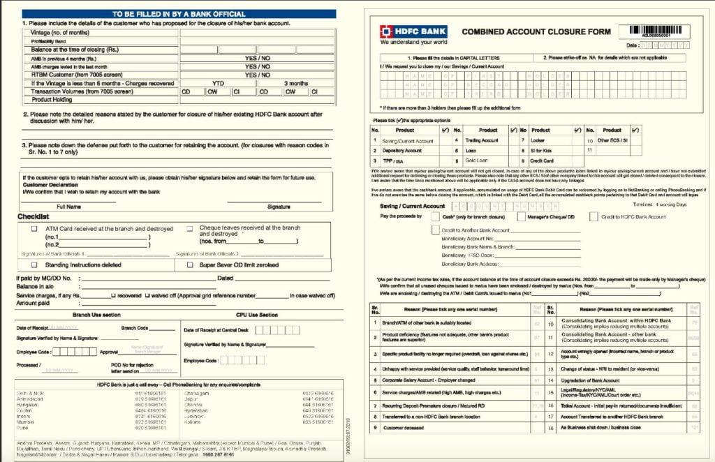 Hdfc Account Closing Form Download