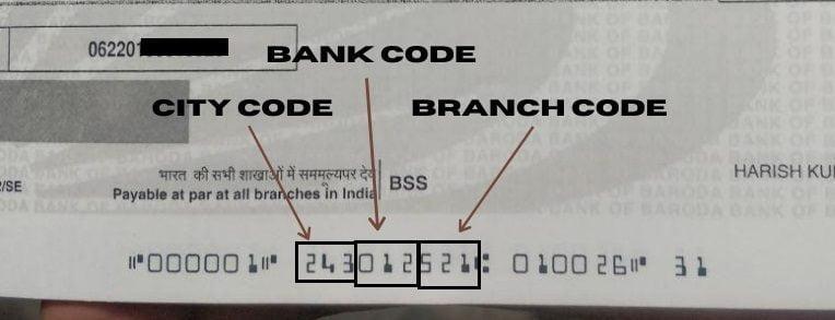 Cheque MICR Code