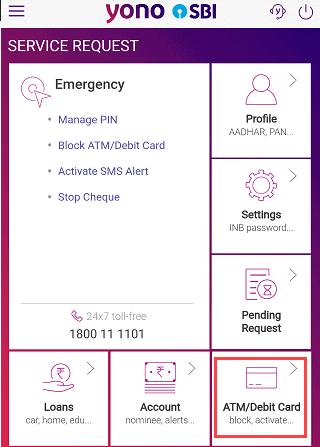 SBI-Yono-manage-Debit-card