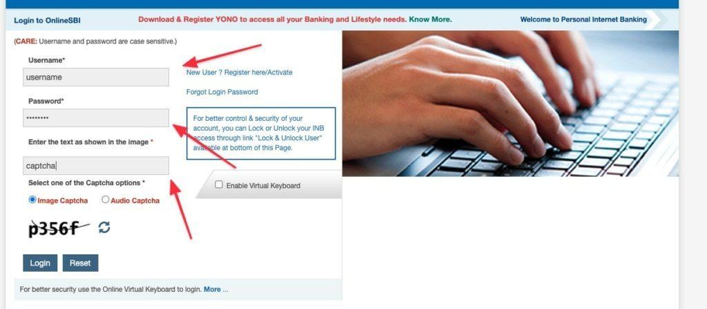 SBI enable internet banking