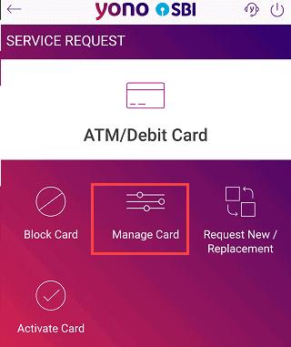 SBI-yono-manage-card