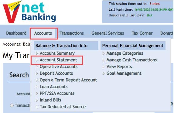 Vijaya-Bank-Account-Statement-Online
