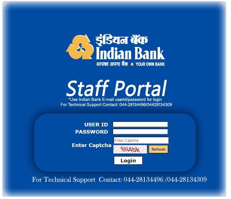 indian bank staff portal login service