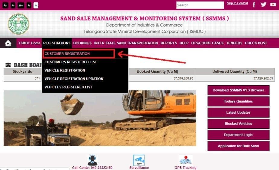 Ts Online Sand Booking Portal 'New User Registration.'
