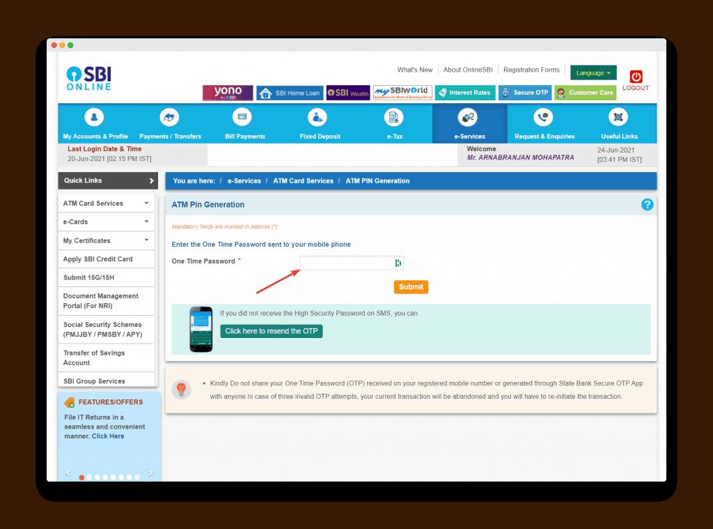 Otp Verification Screen For Sbi Atm Pin Reset
