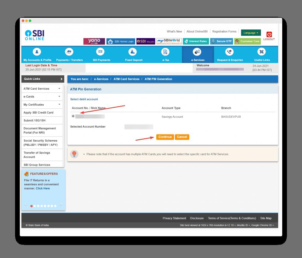 Account Selection Screen For Sbi Debit Card Pin Reset