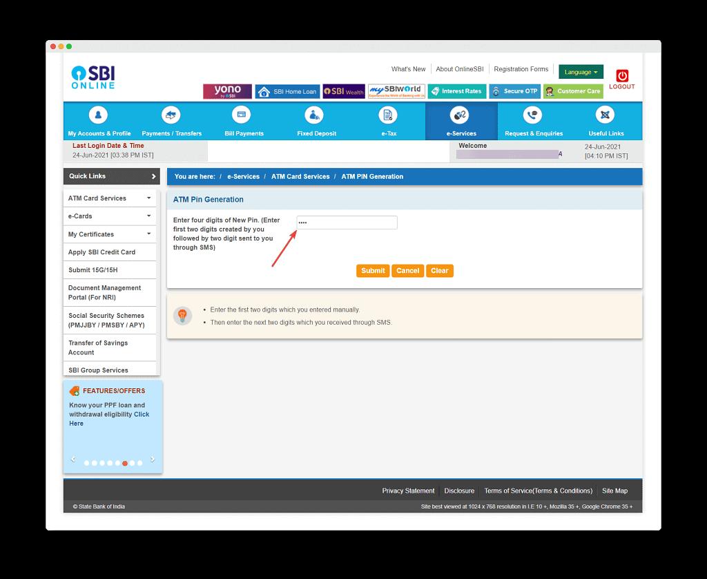 Enter 4 Digit To Reset Sbi Debit Card Pin