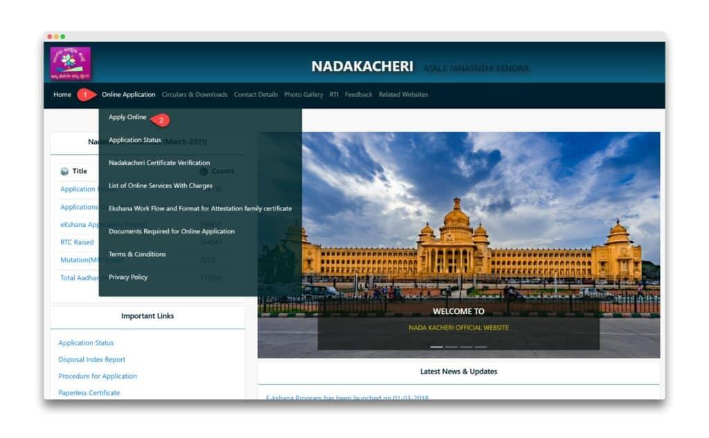 Nadakacheri Cv Caste Certificate Online Apply
