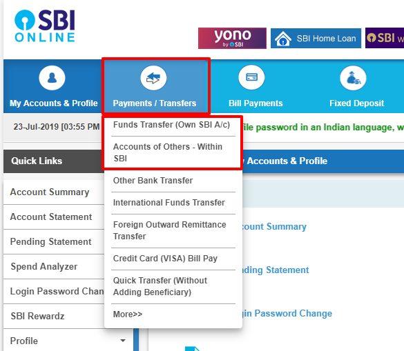 Transfer Money Using The Sbi Net Banking Process