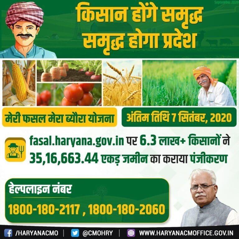 Meri Fasal Mera Byora ऑनलाइन (Fasal.haryana.gov.in) | मेरी फसल मेरा ब्यौरा 2021 रजिस्ट्रेशन