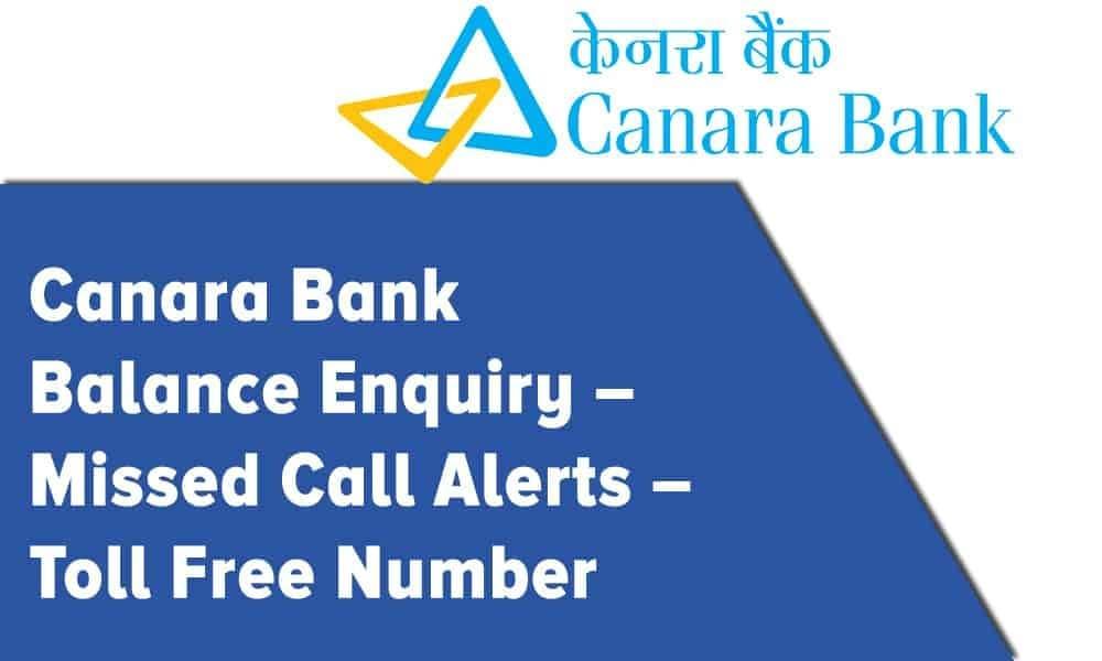 Canara Bank Account Balance Check